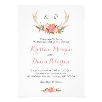 floral deer antler boho chic wedding celebration invitation