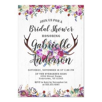 floral deer antler rustic bridal shower invitation