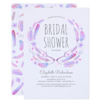 floral feather antlers woodland boho bridal shower invitation