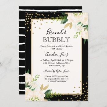 floral gold black stripes brunch and bubbly shower invitation