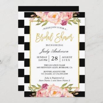 floral gold black white stripes bridal shower invitation
