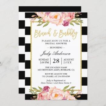 floral gold modern brunch and bubbly bridal shower invitation