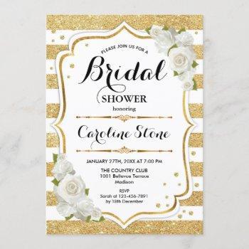 floral gold white stripes bridal shower invitation