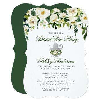 floral green bridal tea party silver invite gb