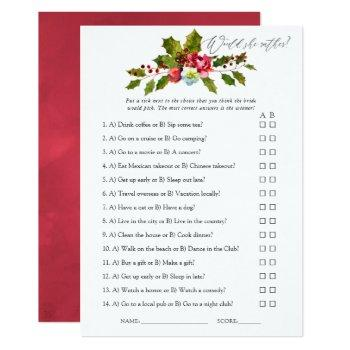 floral holly christmas bridal shower game invitation