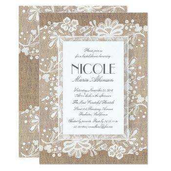floral lace and burlap elegant bridal shower invitation