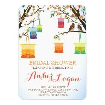 floral lantern bird bridal shower invitations