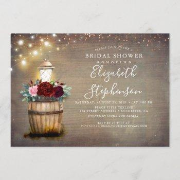 floral lantern rustic country fall bridal shower invitation