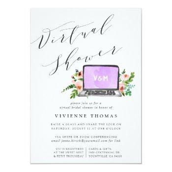 Small Floral Laptop Virtual Bridal Shower Invitation Front View