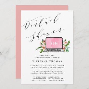 floral laptop virtual bridal shower invitation