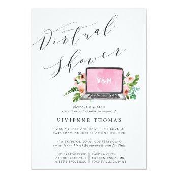 Floral Laptop Virtual Bridal Shower Invitation Front View