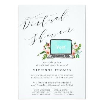 Floral Laptop Virtual Bridal Shower Invitation Front View
