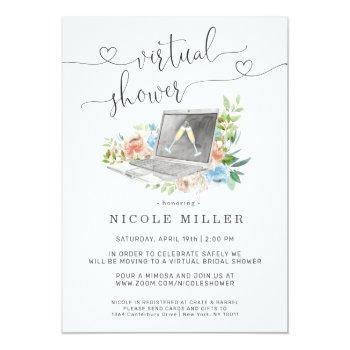 Small Floral Laptop | Virtual Bridal Shower Invitation Front View