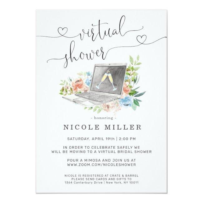 Floral Laptop | Virtual Bridal Shower Invitation