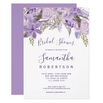 floral lavender watercolor chic bridal shower invitation