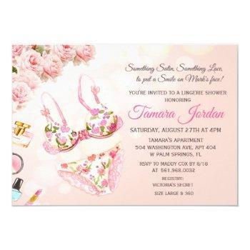 floral lingerie shower invitation