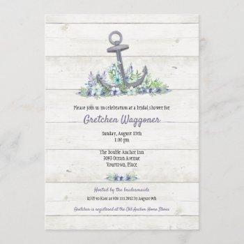 floral nautical anchor bridal shower invitation