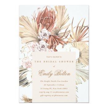 floral pampas tropical grass bridal shower invitation