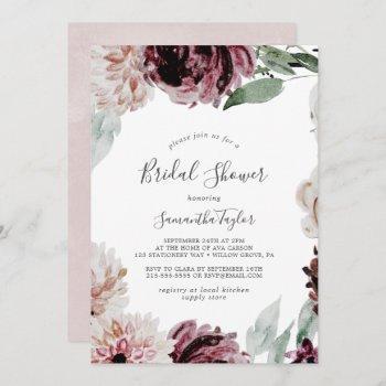 floral romance bridal shower invitation