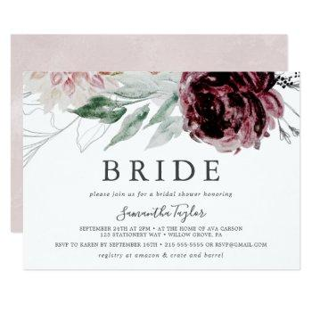 floral romance horizontal bride bridal shower invitation