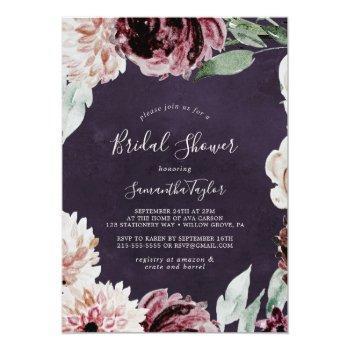 floral romance   plum bridal shower invitation