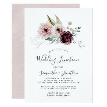 floral romance wedding luncheon invitation