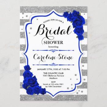 floral royal blue silver stripes bridal shower invitation