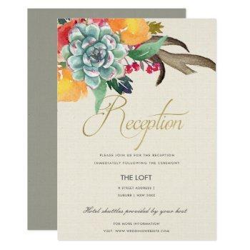 floral succulent antler bohemian allure  reception invitation