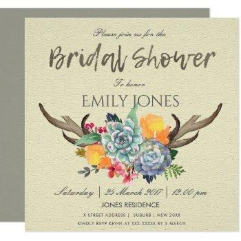 floral succulent antler bohemian bridal shower invitation