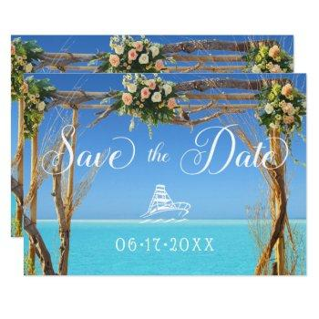 floral summer beach wedding gate save the date invitation