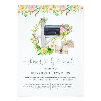 Floral Virtual Bridal Shower By Mail Invitation Front View