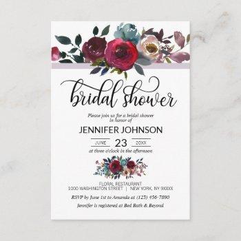 floral watercolor burgundy purple bridal shower invitation