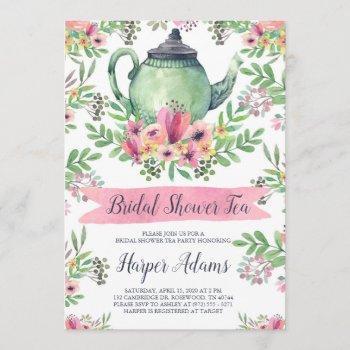 floral watercolor teapot bridal shower tea invitation