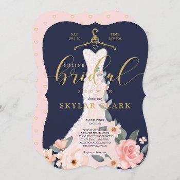 floral wedding dress navy online bridal shower invitation