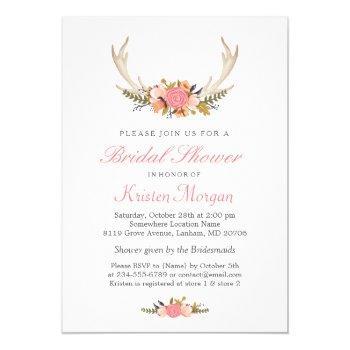 floral white antler boho chic bridal shower invitation