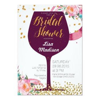 floral wine bridal shower invitation card