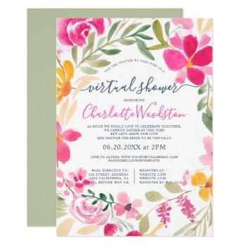 floral wreath watercolor script virtual shower invitation