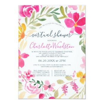 Small Floral Wreath Watercolor Script Virtual Shower Invitation Front View