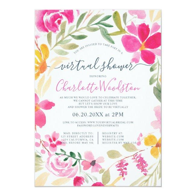 Floral Wreath Watercolor Script Virtual Shower Invitation