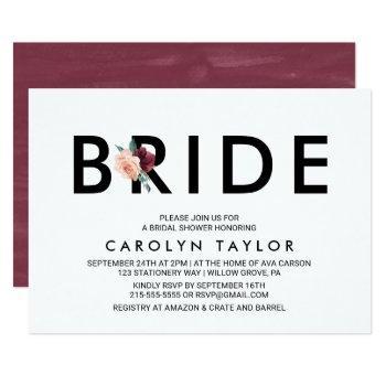 flower lettering | maroon bridal shower invitation