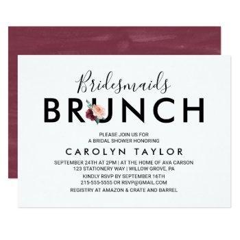 flower lettering | maroon bridesmaids brunch invitation