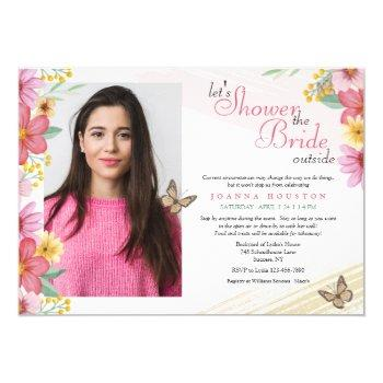 flowers and butterflies stay or go shower invitation