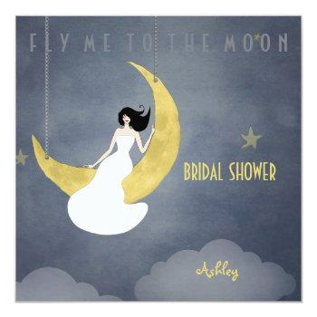 fly me to the moon 2 bridal shower invitation