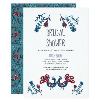 folk art bridal shower invites scandinavian birds