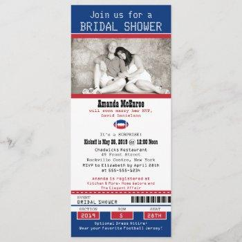 football ticket blue and red bridal shower invitation
