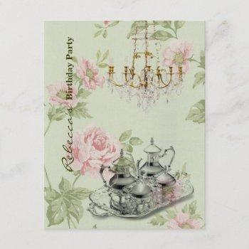 french country garden birthday tea party invitation