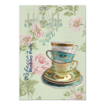 french country garden birthday tea party invitation