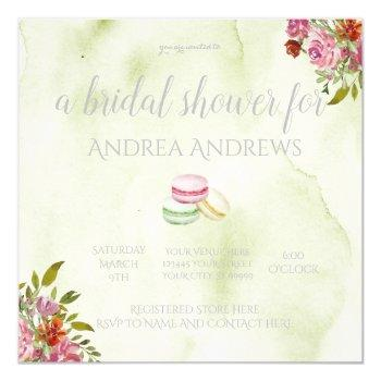 french macaroon bridal shower invitation