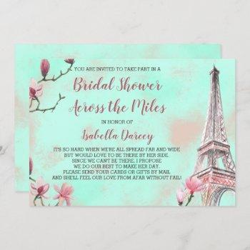 french romance bridal shower across the miles invitation