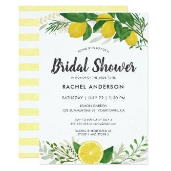 fresh lemon bridal shower invitation card